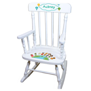 Small World White Personalized Wooden ,rocking chairs