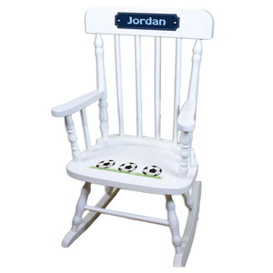 Soccer White Personalized Wooden ,rocking chairs