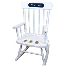 Football White Personalized Wooden ,rocking chairs