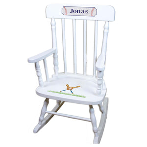 Baseball White Personalized Wooden ,rocking chairs