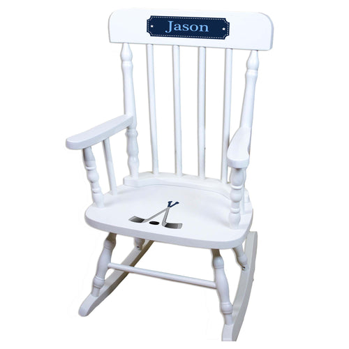 Ice Hockey White Personalized Wooden ,rocking chairs