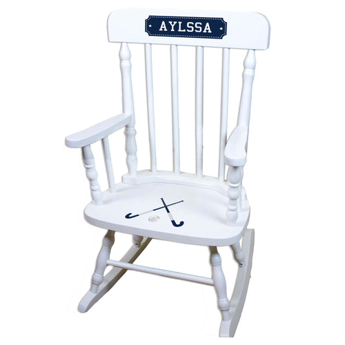 Field Hockey White Personalized Wooden ,rocking chairs