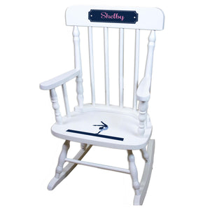 Gymnastics White Personalized Wooden ,rocking chairs