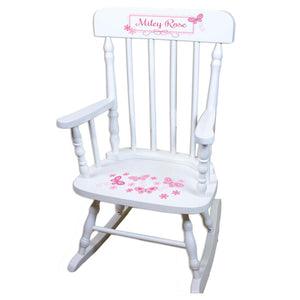 Pink Butterflies White Personalized Wooden ,rocking chairs