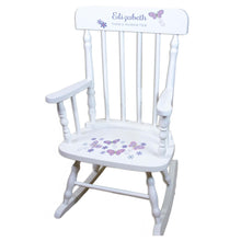 Lavender Butterflies White Spindle rocking chairs