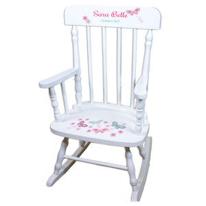 Pink Aqua Butterflies White Spindle rocking chairs