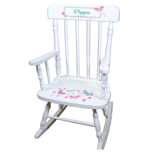 Pink Aqua Butterflies White Personalized Wooden ,rocking chairs