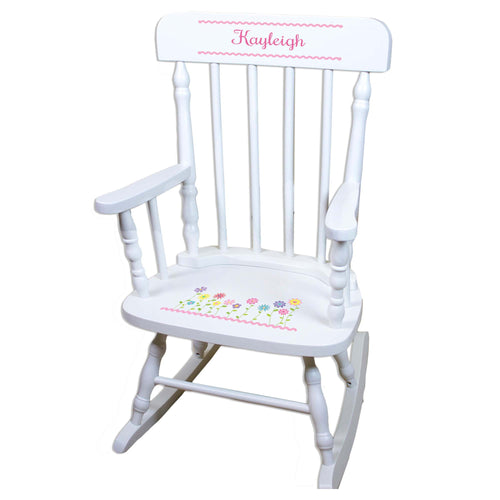 Stemmed Flowers White Personalized Wooden ,rocking chairs