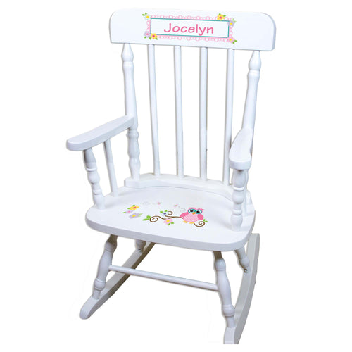 Calico Owl White Personalized Wooden ,rocking chairs
