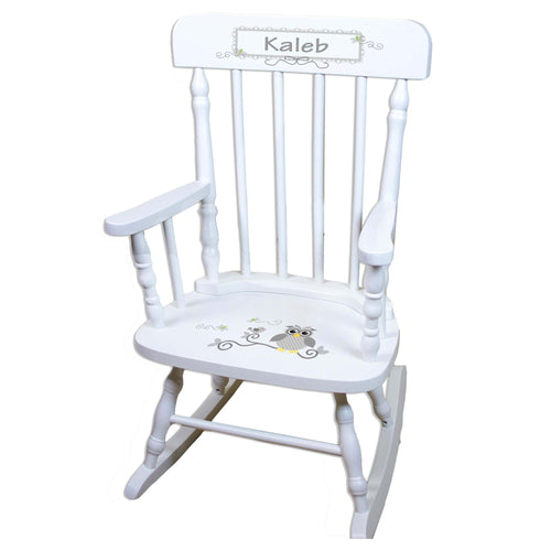 Gray Owl White Personalized Wooden ,rocking chairs