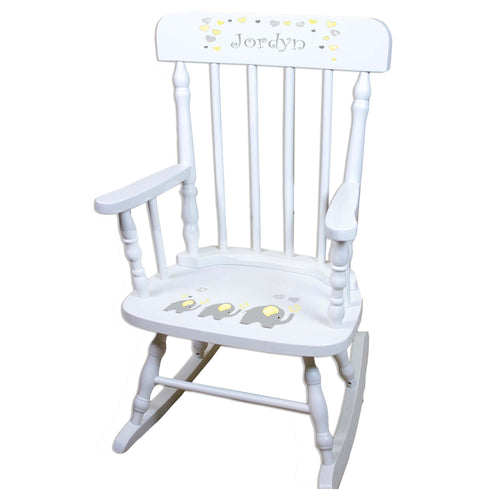 Yellow Elephant White Personalized Wooden ,rocking chairs