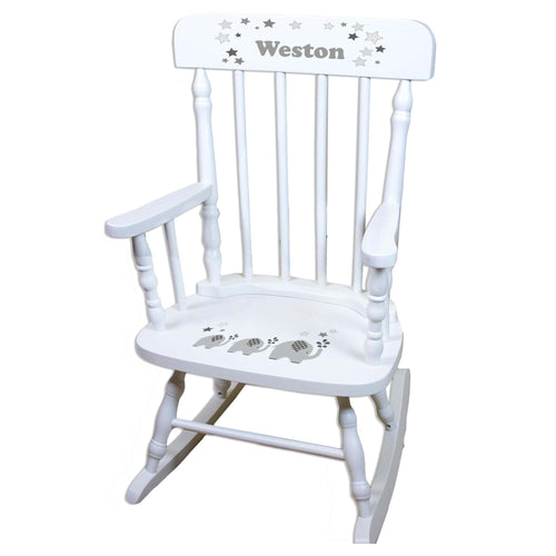 Gray Elephant White Personalized Wooden ,rocking chairs