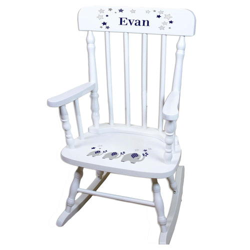 Navy Elephant White Personalized Wooden ,rocking chairs