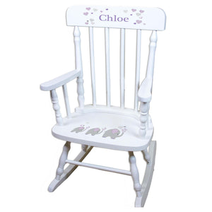 Lavender Elephant White Personalized Wooden ,rocking chairs