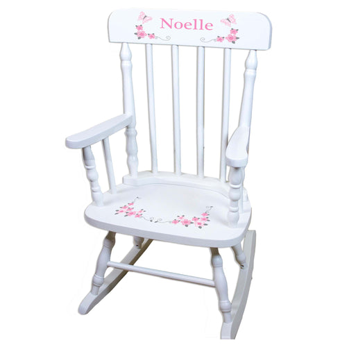 Pink Gray Butterfly White Personalized Wooden ,rocking chairs