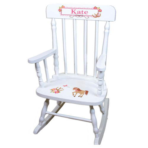 Prancing Pony White Personalized Wooden ,rocking chairs
