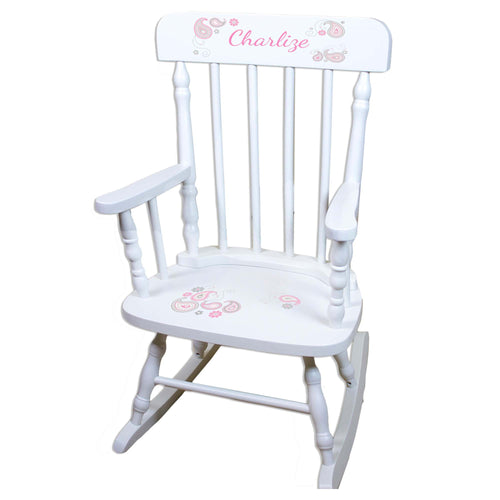 Pink Gray Paisley White Personalized Wooden ,rocking chairs