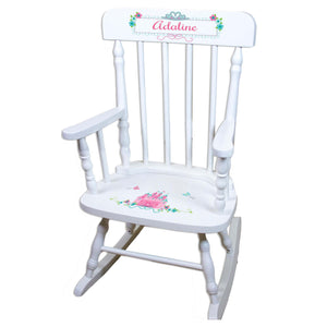 Teal Princess Castle White Personalized Wooden ,rocking chairs
