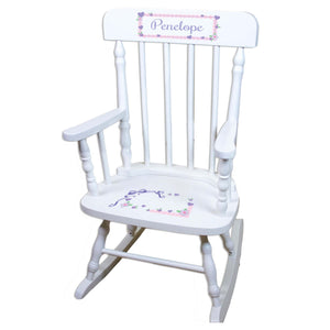 Lacey Bow White Personalized Wooden ,rocking chairs