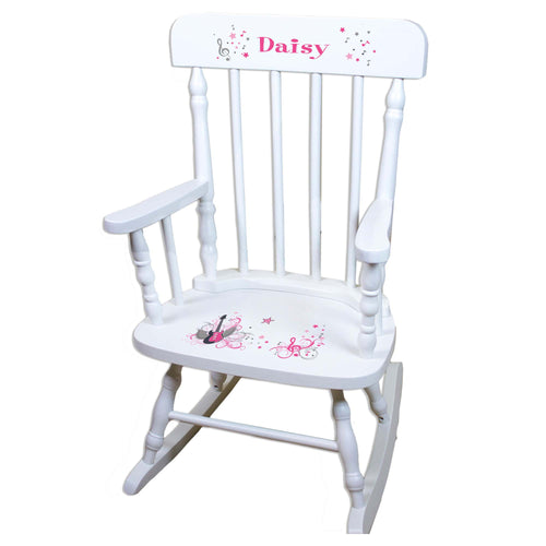 Girl's Rock Star White Personalized Wooden ,rocking chairs