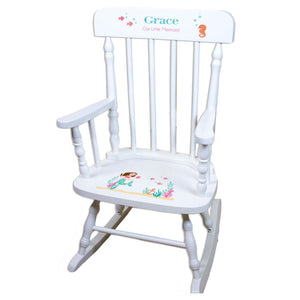 Brunette Mermaid White Spindle rocking chairs