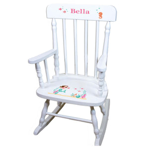 Brunette Mermaid White Personalized Wooden ,rocking chairs