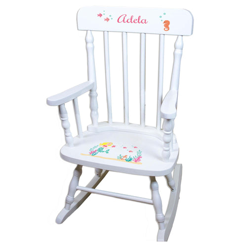 Blonde Mermaid White Personalized Wooden ,rocking chairs