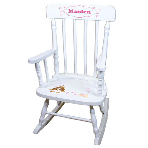 Pink Puppy White Personalized Wooden ,rocking chairs