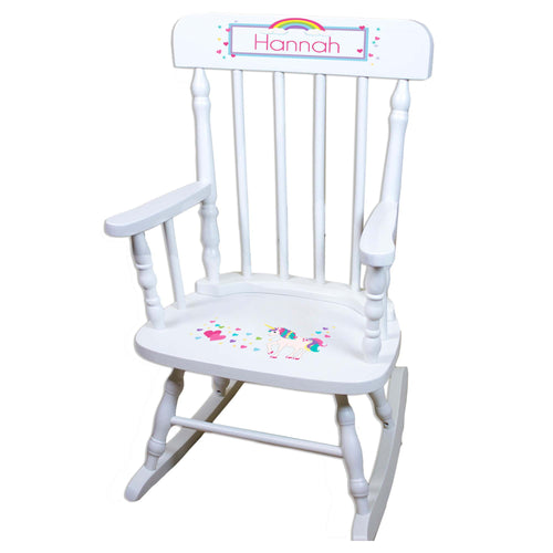 Unicorn White Personalized Wooden ,rocking chairs