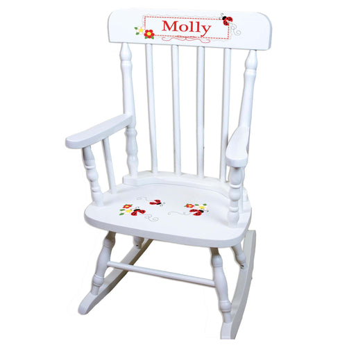 Red Ladybug White Personalized Wooden ,rocking chairs