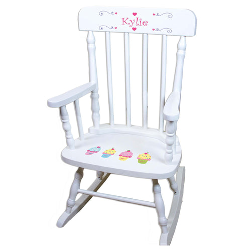 Cupcake White Personalized Wooden ,rocking chairs