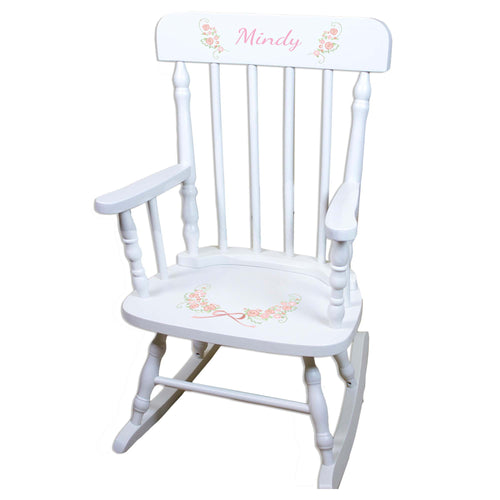 Blush Garland Flower White Personalized Wooden ,rocking chairs
