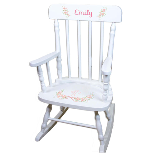 Girls Blush Baptism White Personalized Wooden ,rocking chairs
