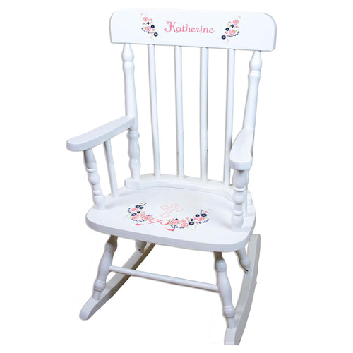 Navy Pink Floral Cross White Personalized Wooden ,rocking chairs