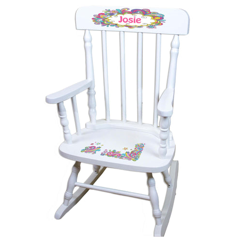 Groovy Swirl White Personalized Wooden ,rocking chairs