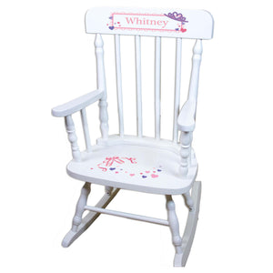 Ballet Princess White Personalized Wooden ,rocking chairs