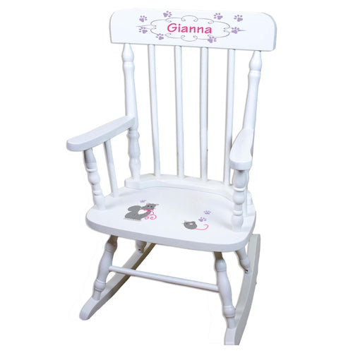 Kitty Cat White Personalized Wooden ,rocking chairs