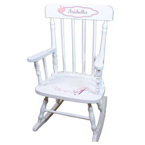 Fairy Princess White Personalized Wooden ,rocking chairs