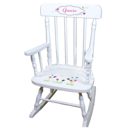 English Garden White Personalized Wooden ,rocking chairs