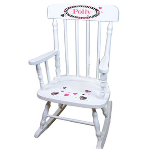 Groovy Zebra White Personalized Wooden ,rocking chairs