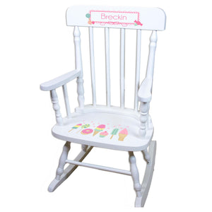 Sweet Treat White Personalized Wooden ,rocking chairs
