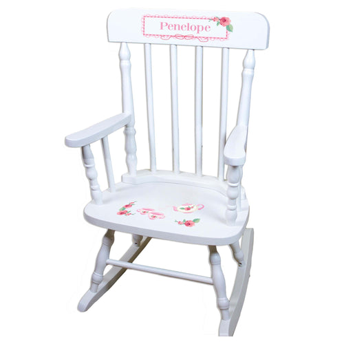 Tea Party White Personalized Wooden ,rocking chairs