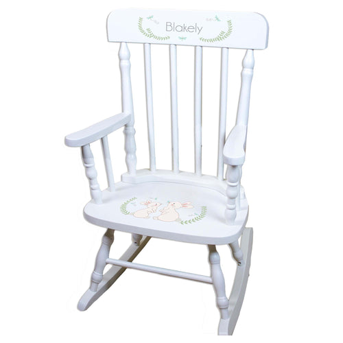 Bunny White Personalized Wooden ,rocking chairs