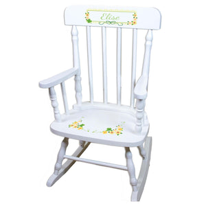 Shamrock White Personalized Wooden ,rocking chairs