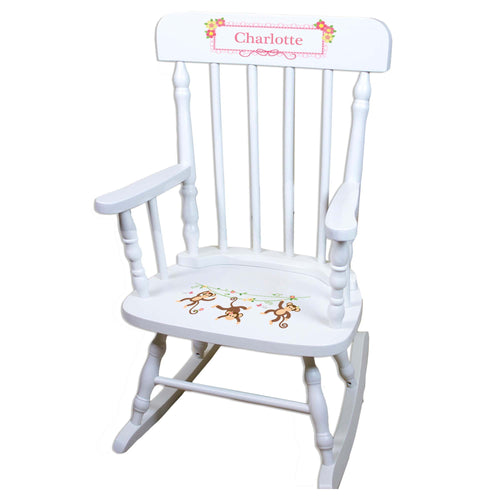 Monkey Girl White Personalized Wooden ,rocking chairs