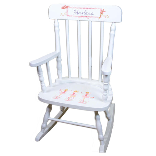 Blonde Ballerina White Personalized Wooden ,rocking chairs