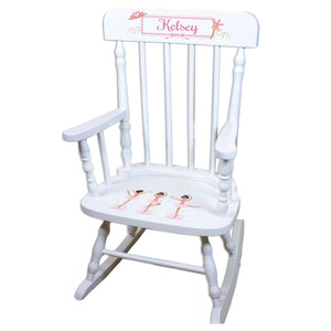 Black Hair Ballerina White Personalized Wooden ,rocking chairs