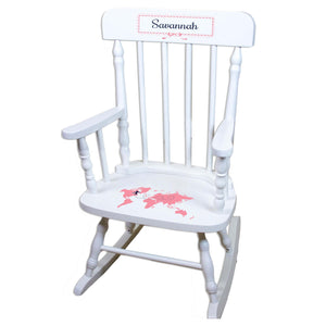 Pink World Map White Personalized Wooden ,rocking chairs