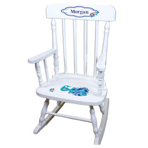 Peacock White Personalized Wooden ,rocking chairs
