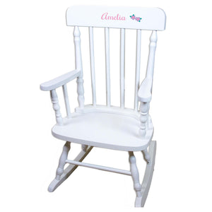 Single Flower White Personalized Wooden ,rocking chairs